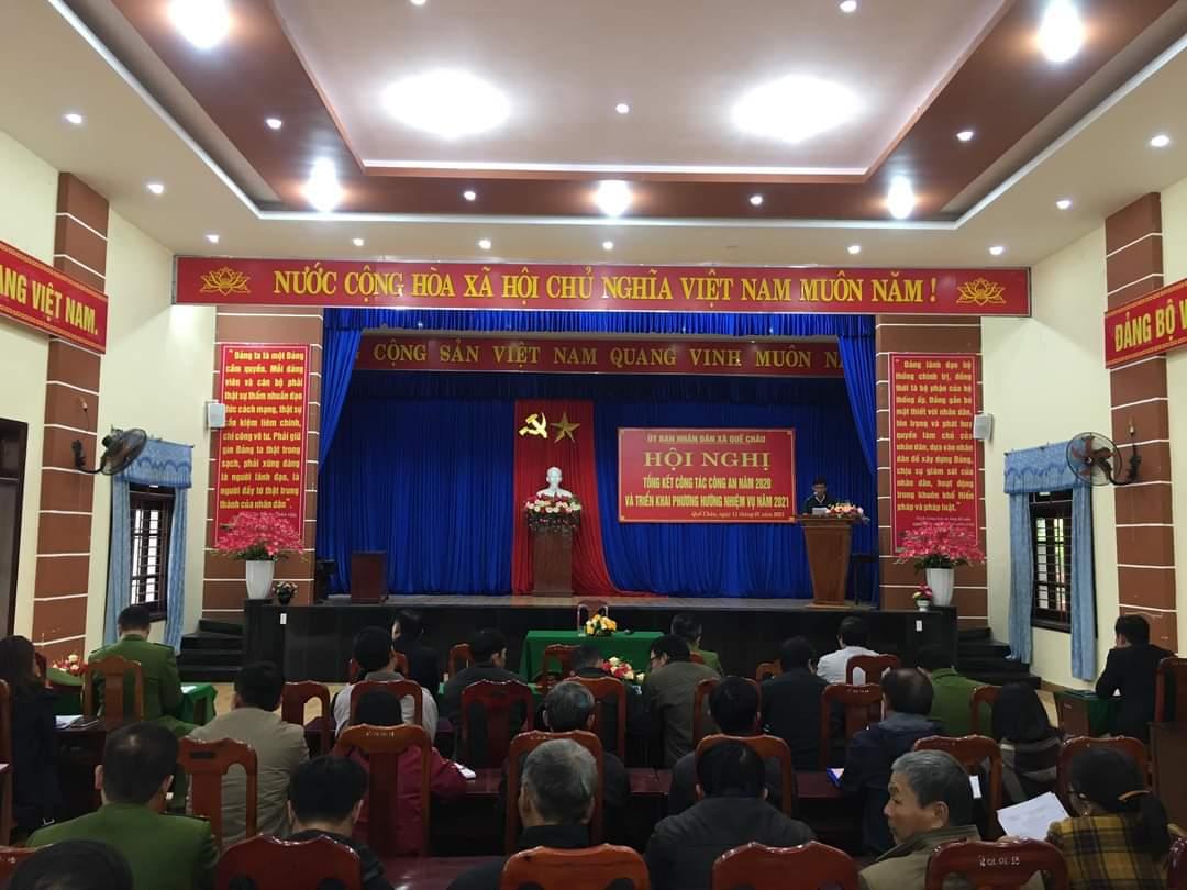 UBND xã Quế Châu tổ chức Hội nghị tổng kết công tác Công an năm 2020, triển khai chương trình công tác năm 2021.